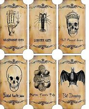 Vintage inspired Halloween sepia 6 large bottle stickers apothecary labels set 2