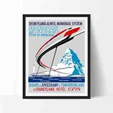 Vintage MONORAIL SYSTEM Wall Art DISNEYLAND Poster Reprint Not Framed 16x20