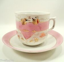 Vtg Mustache Cup & Saucer Pink on White with Gold Accents