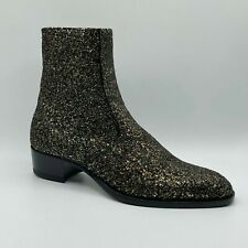 Saint Laurent Wyatt Men Black/Gold Glitter Leather Zip Up Ankle Boot 528365 8014