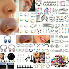 105PCS Body Piercing Jewelry Tongue Eyebrow Nose Lip Belly Navel Rings Lots