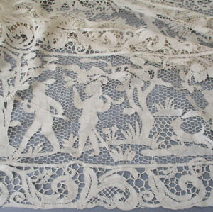 "Antique Handmade Italian CANTU Figural Bobbin LACE 104"" Tablecloth HUNTING Scene"