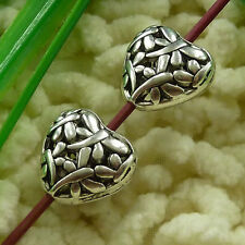 free ship 90 pieces tibetan silver flower heart hollow spacer 15x15mm S2730