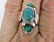 Ring Bell Mark Sz 81/2 Taxco Mexico Sterling Silver Turquoise Poison