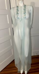 Vintage Sheer Chiffon Teal Peignoir Nightgown Robe only Sz Large Embroidered
