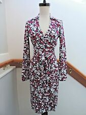 NWT $398 DIANE VON FURSTENBERG NEW JEANNE TWO DIAMOND VINE MIDNIGHT WRAP DRESS 0