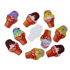 20 Mixed Wooden Novelty Ice Cream Cornets Sewing Craft Buttons 30mm