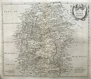 1695 Antique Morden County Map of Wiltshire - from Camden's Brittania
