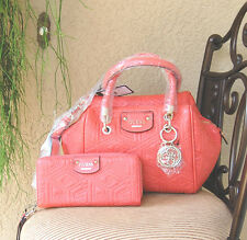 NWT GUESS G Cube Abbey Quilted Satchel Handbag & Wallet Set Color Coral