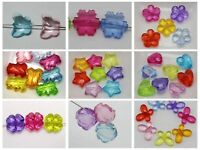 100 Mixed Colour Transparent Acrylic Charm Beads Various Shape Flower Heart