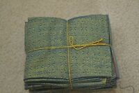 8 Fat Quarters, Blues with Metallic-Gold, Calicos & Plaids, M80