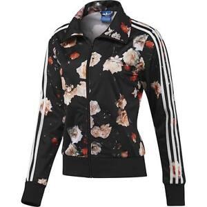 Adidas Firebird Roses Flower Print Track Top Women Black White Jacket F78292