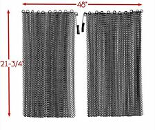 "Jestesen Fireplace Black Mesh Replacement Curtain Screen 2 Panels 22"" x 48"""