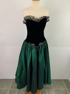 Vintage 80s 90s Night Moves Women's 11 12 Dress Taffeta Skirt Velvet Bodice Prom