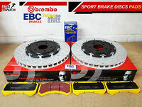 FOR NISSAN GTR R35 FRONT FLOATING BREMBO BRAKE DISCS YELLOW STUFF EBC PADS SET