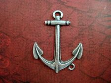 Large Solid Oxidized Silver Plated Brass Anchor Charm (1) - Sos8074-1