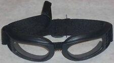 Clear Biker Sports Goggles Foam Lined Black Frame Adjustable Elastic Headband