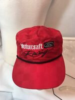 Vintage 80s Ford Motorcraft Racing Leather Strap Back Hat Shiny Red Checker Cap