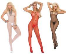 Catsuit ouvert Nylon S M L XL Erotik Damen Reizwäsche Einteiler Bodystocking