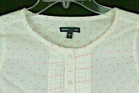 Gap Kids Pullover Shirt Henley Long Sleeves Girls sz XL polka-dot pink white 1N
