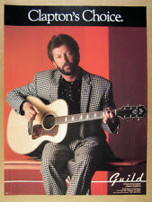 1987 eric clapton photo Guild Acoustic Guitar vintage print Ad