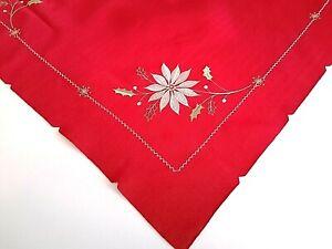 Weihnachts- Tischdecke Rot Weihnachtsstern  - Tischläufer Mittelecke  80x80cm