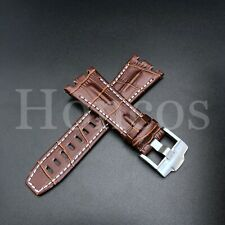 28MM Alligator Leather Watch Band Strap Fits For AP Audemars Piguet Brown White