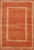 Bordered Contemporary Gabbeh Oriental Area Rug Hand-Knotted Wool 4x6 New Carpet