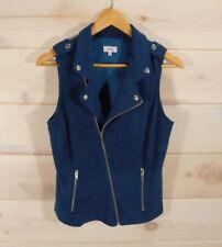 Stitch Fix Pixley Womens Sz S Vest Navy Blue Full Zip Moto Style Asymmetrical