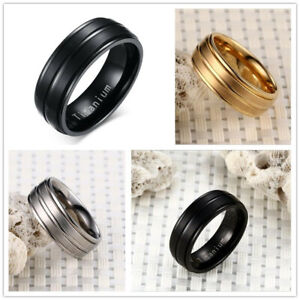 Men&Women Stainless Steel Titanium 3Color Band Ring Wedding Engagement Size 7-13