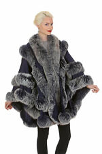 Real Fox Fur Trim Cashmere Cape Plus Size – Empress Style – Navy Frost Fox