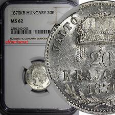 Hungary Silver 1870 Kb 20 Krajczar Ngc Ms62 One Graded Highest Rare Km# 452.1