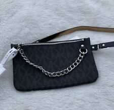 NWT Michael Kors MK Logo Belt Bag Fanny Pack With Pull Chain Black Size Large