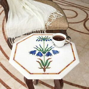 White Marble Bedroom Coffee Table Top Handicraft Inlay Floral Marquetry Art Deco