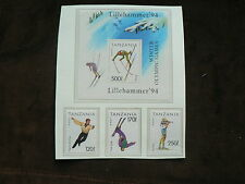 1994 Tanzania m/s + Stamps, Lillehammer Winter Olympic Games, Sport,  MNH
