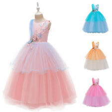 Flower Girls Long Mesh Tulle Party Dress Princess Christmas Prom Gown for Kids