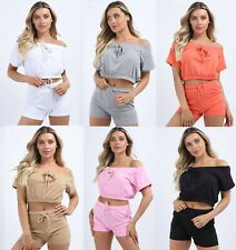 Ladies Tie up Off Shoulder Crop Top Shorts Two Piece Co ord Set Loungewear