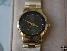 New Q&Q by Citizen Gold Tone Lady Dress Watch w/Black Dial