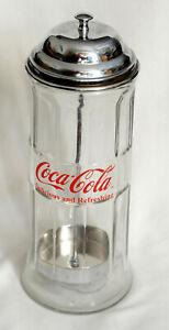 Coca-Cola Glass Straw Dispenser with Metal Lid Tablecraft VGC
