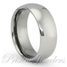 Silver Tungsten Carbide Dome Wedding Band Mens Womens Comfort Fit Promise Ring