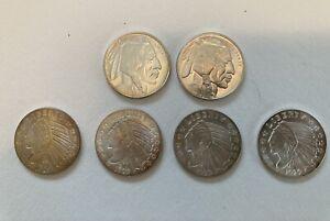 4 1/4 oz incuse Indian silver and 2 1/4 oz .999 silver indian head buffalo