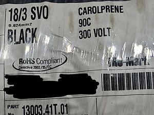 Carol 13003 18/3C Carolprene SVO 300V 90C Portable Power Cable Cord Black /50ft