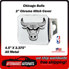 """Chicago Bulls NBA 2"""" Chrome Metal Tow Hitch Receiver Cover All Metal Ships Quick"""