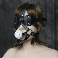Black Leather Goggles Mask Eye Mask & Breathable Open Mouth gag Slave Harness