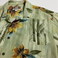 Kalaheo USA Mens L Beige Floral Bamboo print Hawaiian Aloha Vacation Shirt Rayon