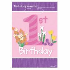 Amscan 8 Pack Girls PINK HAPPY 1st BIRTHDAY LOOT PARTY BAG Gift Treat Sweet Bag