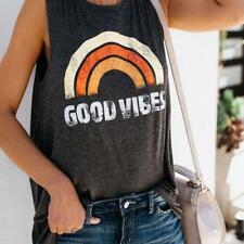 Women Loose Sleeveless Rainbow Good Vibes T-shirt Casual Vest Tops Blouse Tank Q