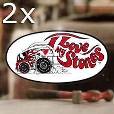 "2x pieces I love my Stones firestone sticker decal hot rod rat old school 6"""