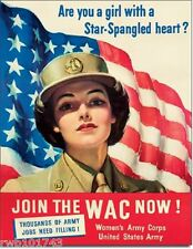 Join the WAC Women's US Army Corps TIN SIGN WWII metal recruiting poster 2020