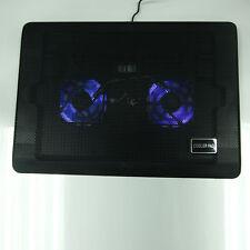 """2 Fans USB LED Light 10-17"""" Laptop Notebook Cooing Cooler Pad Adjustable St"""